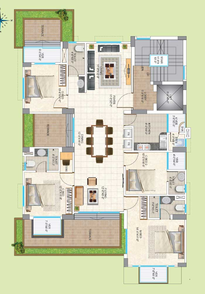 Assure Aashiana Typical Floor Plan