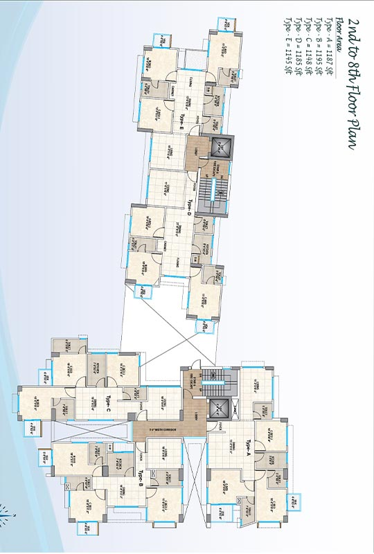 Assure Bushra Palace 2nd to 8th Floor Plan