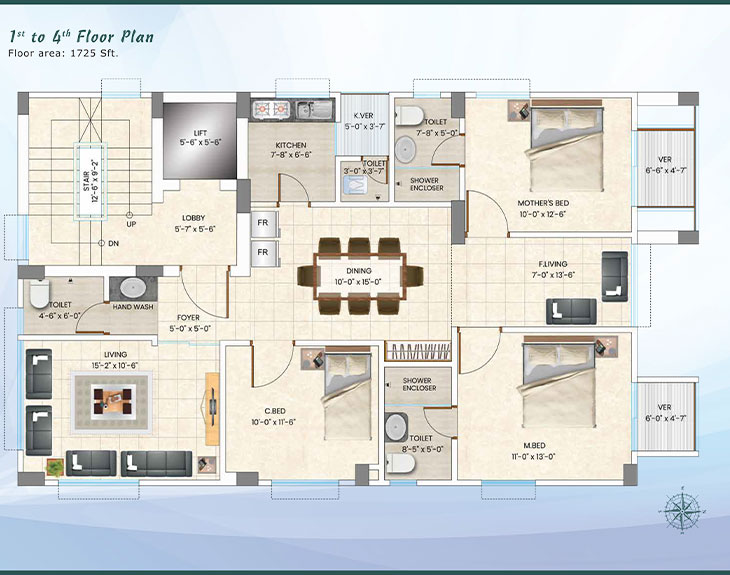 Assure Kamini 1st to 4th Floor Plan