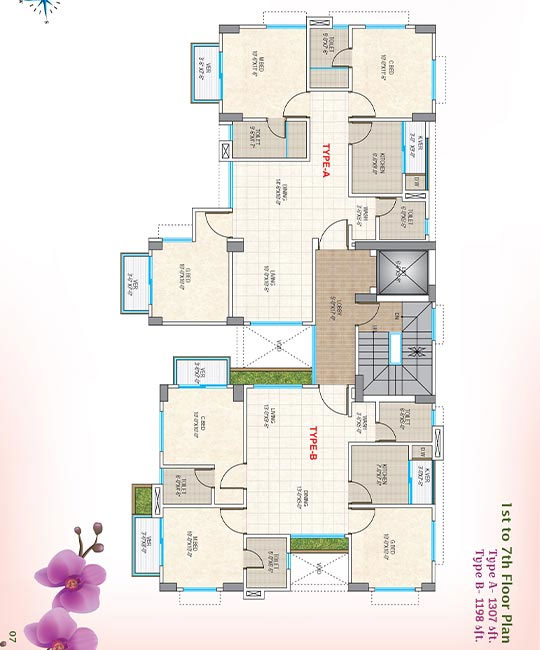Nasifa Assure Orchid 1st to 7th Floor Plan Type-A & B