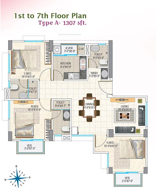 Nasifa Assure Orchid 1st to 7th Floor Plan Type-A