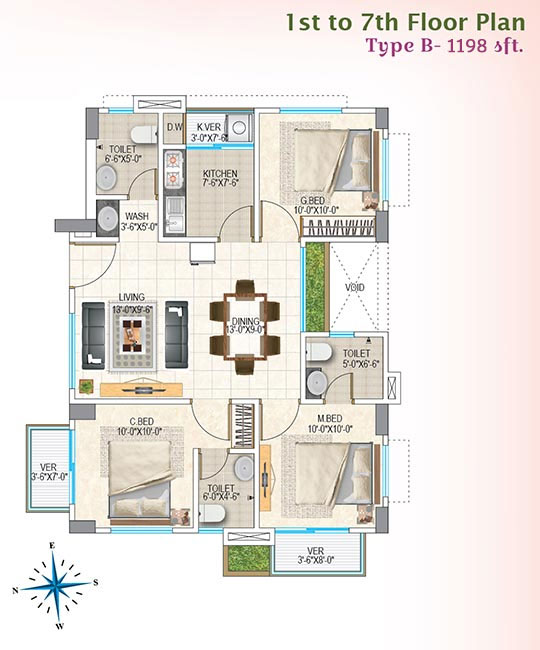 Nasifa Assure Orchid 1st to 7th Floorplan Type-B